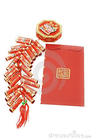 Free Chinese Red Packet And Fire Crackers Ornament Royalty Free Stock Photography - 7561907