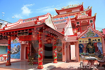 Chinese red temple