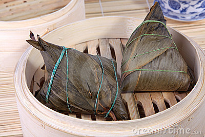 Chinese rice dumplings on bamboo basket