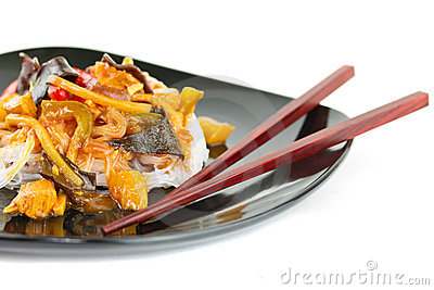 Chinese rice noodles on the plate
