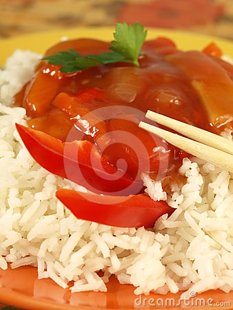 Chinese rice and sauce, closeup