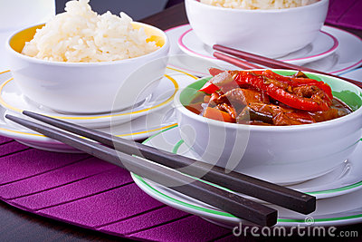 Chinese rice and sweet and sour chicken