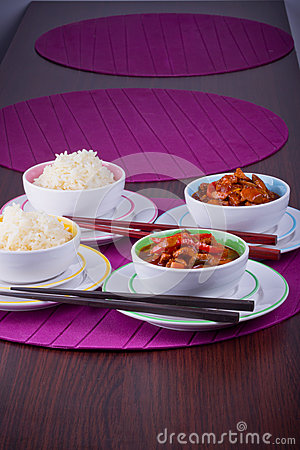 Chinese rice with sweet and sour chicken
