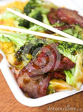 Free Chinese Roast Pork With Broccoli Royalty Free Stock Photos - 8384758