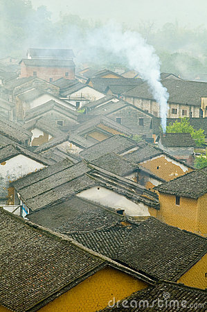 Chinese rooftops in smog