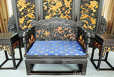 Chinese royal furniture with dragon decoration