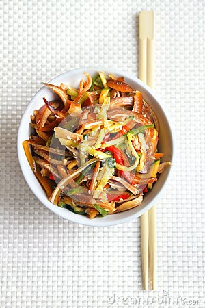 Chinese salad with pig ears and vegetables