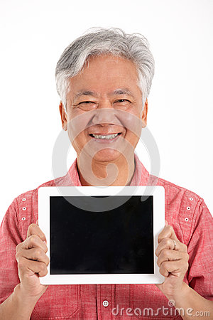 Chinese Senior Man Holding Digital Tablet