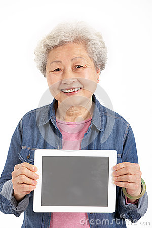 Chinese Senior Woman Holding Digital Tablet