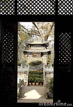 Chinese shrine through the doorway