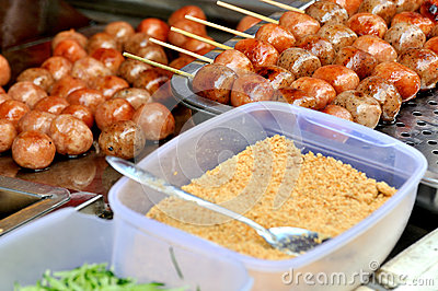 Chinese snack, frying meat ball