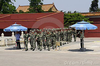 Chinese Soldiers on Parade Editorial Photography