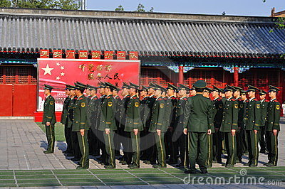 Chinese Soldiers on Standby Editorial Stock Image