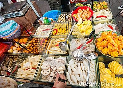 Chinese street fruit cart
