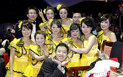 Chinese students cheers after show Editorial Image