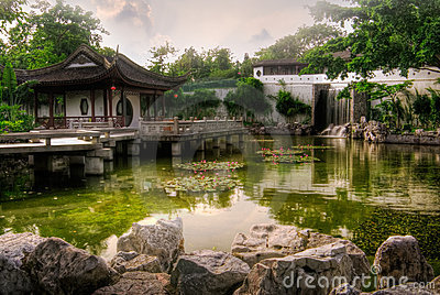Chinese style house near the pond