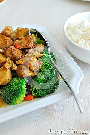 Chinese style mushrooms and cauliflower with rice