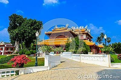 Chinese style palace in Bang Pa-In palace, Ayutthaya, Thailand.