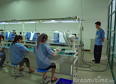 Chinese sweatshop interior Editorial Stock Photo