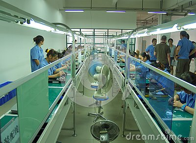 Chinese sweatshop interior Editorial Stock Photo