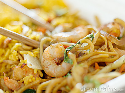 Chinese take out - shrimp lo mein close up
