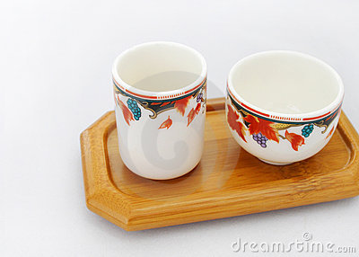 Chinese tea cups wooden tray