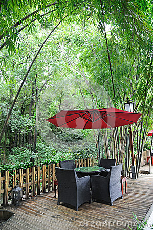 Chinese tea house with red umbrella