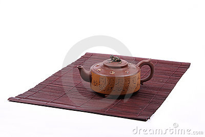 Chinese teapot on mat