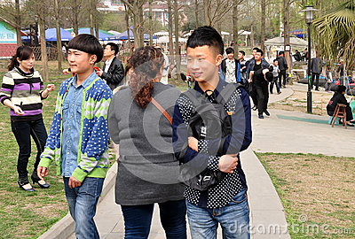 Pengzhou, China: Teens in Park Editorial Photo