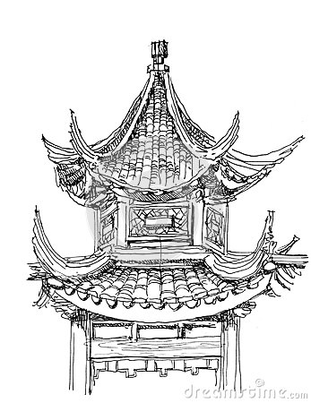 Free Chinese Temple Drawing Stock Photo - 28351300
