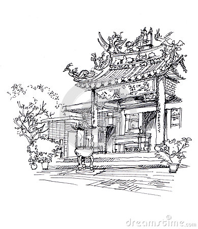 Free Chinese Temple Pen Drawing Sketch Illustration Royalty Free Stock Photo - 67938305
