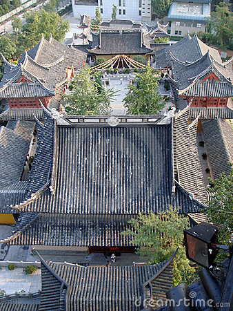 Chinese temple rooftop view
