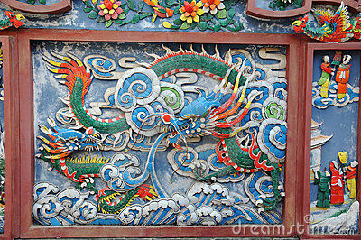 Chinese temple wall detail