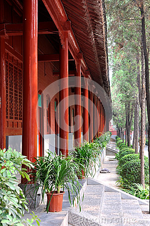 Chinese temple yard with red pole of house