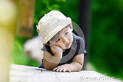 Chinese thinking girl