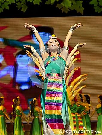 Chinese Tibetan ethnic dance Editorial Photo