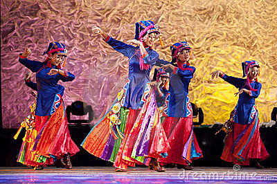 Chinese Tibetan ethnic dancers Editorial Photography