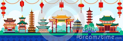 Chinese town design elements. Travel to China flat illustration. Traditional pagoda and lanterns background Vector Illustration