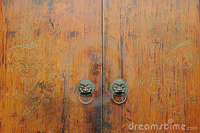 Chinese traditional carved wooden door