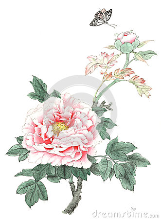 Free Chinese Traditional Distinguished Gorgeous Decorative Hand-painted Ink Peony Flowers Royalty Free Stock Photo - 93380195