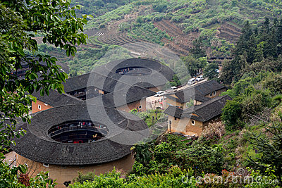 Chinese traditional Earth Castle in countryside of South China Editorial Photo