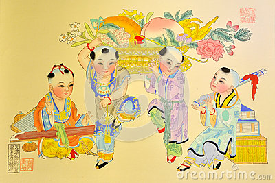 Chinese traditional painting, kids playing