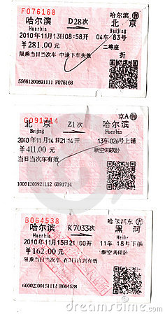 Chinese Train Tickets Editorial Image