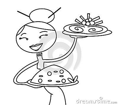 Chinese waitress