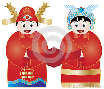 Chinese Wedding Couple Illustration