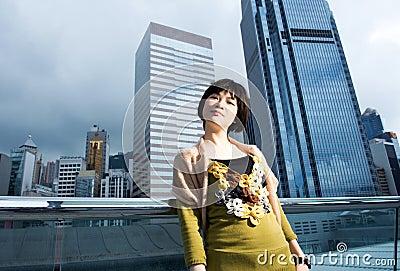 Chinese woman having fun outdoors