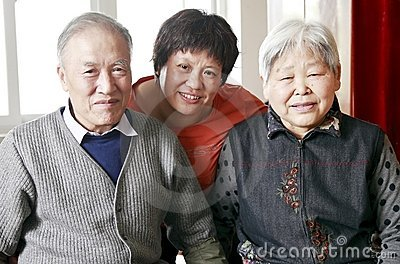 Chinese woman with her parents