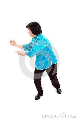 Chinese Woman performs Tai Chi