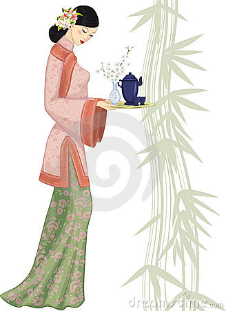 Chinese woman with tray
