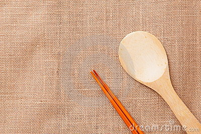 Chinese wood tableware on linen tablecloth